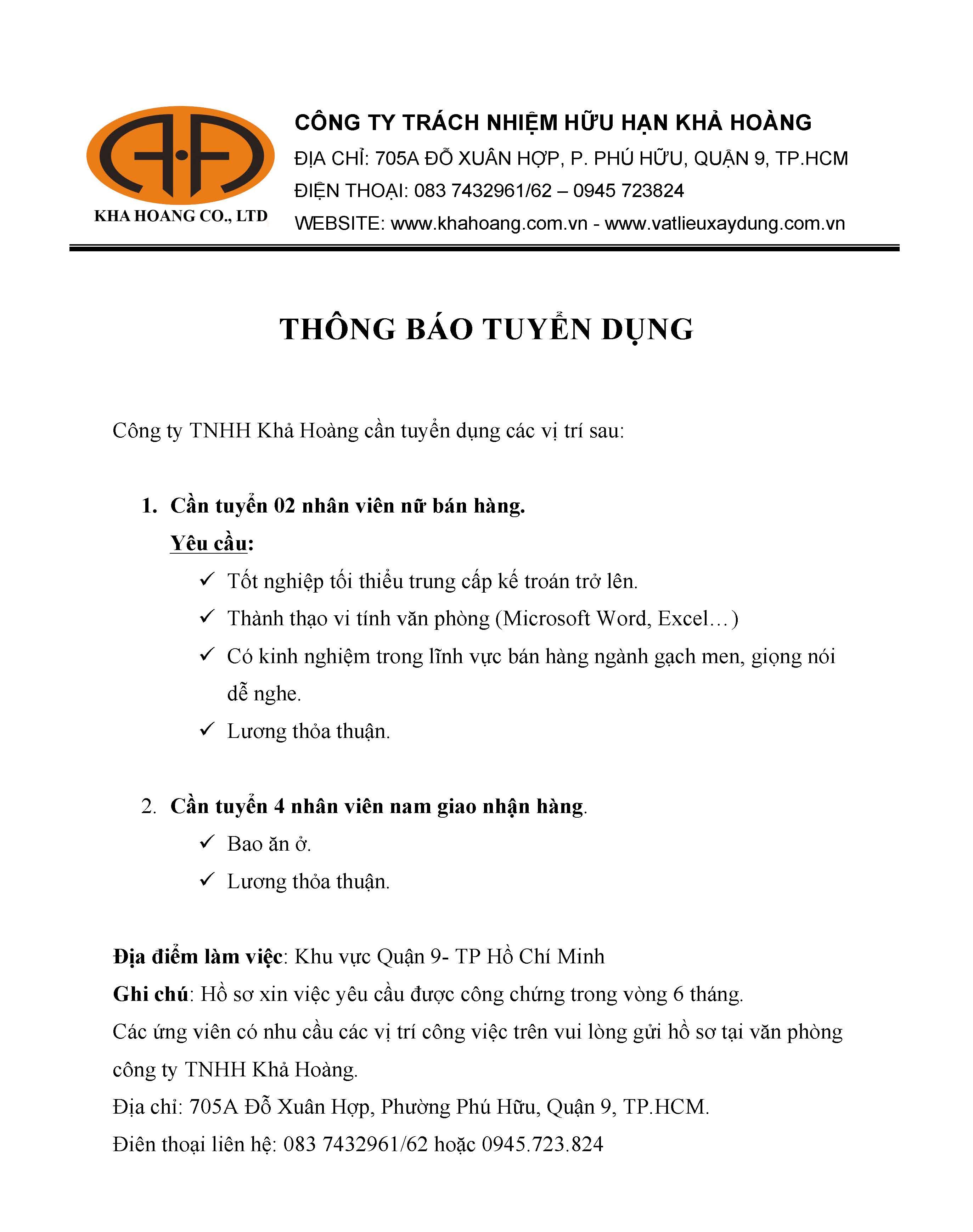 THÔNG TIN TUYỂN DỤNG THÁNG 3/2017