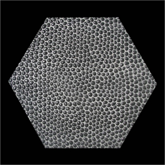 Gạch Sỏi, Terrazzo Hạt đen 10mm lục giác 400x400